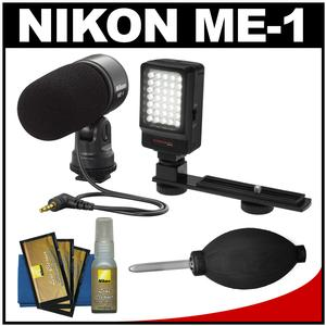Nikon ME-1 Stereo Microphone for D4s D610 D750 D810 D7100 D3200 D3300 D5300 V3 Supplied with Wind Screen and Soft Case + LED Light + Nikon Cleaning Kit