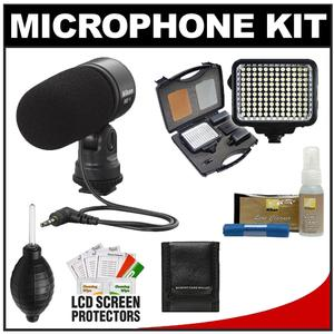 Nikon ME-1 Stereo Microphone for D7000, D5100, D3s, D300s, Coolpix P7000 Digital Cameras Supplied with Wind Screen and Soft Case + LED Light Kit + Nikon Cleaning Kit