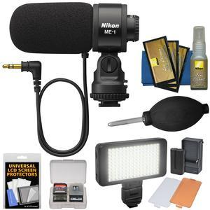 Nikon ME-1 Stereo Microphone for D4s D610 D750 D810 D7100 D3200 D3300 D5300 V3 Supplied with Wind Screen and Soft Case + LED Light Kit + Nikon Cleaning Kit