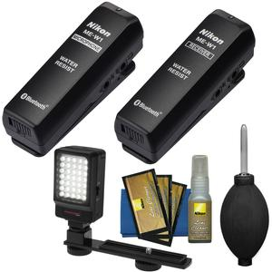Nikon ME-W1 Wireless Water Resistant Microphone with LED Video Light and Cleaning Kit