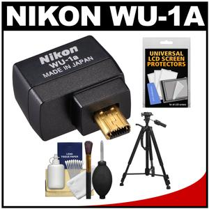 Nikon WU-1a Wireless Wi-Fi Mobile Adapter (for iPhone or Android) - Factory Refurbished + Tripod + Cleaning Kit for Coolpix A P520 P530 P7800 DF D3200 D3300 D5200 & D7100