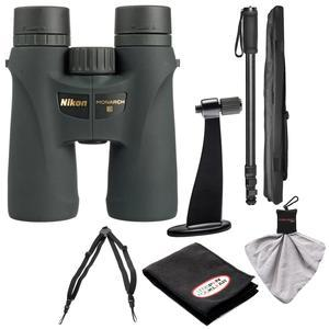 Nikon Monarch 3 8x42 ATB Waterproof - Fogproof Binoculars with Case + Harness + Tripod Adapter and Monopod + Kit