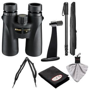 Nikon Monarch 3 10x42 ATB Waterproof - Fogproof Binoculars with Case + Harness + Tripod Adapter and Monopod + Kit