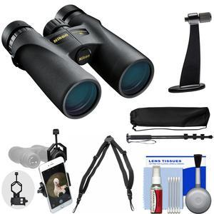 Nikon Monarch 3 10x42 ATB Waterproof-Fogproof Binoculars with Case and Harness and Smartphone Adapter and Tripod Adapter and Monopod and Cleaning Kit
