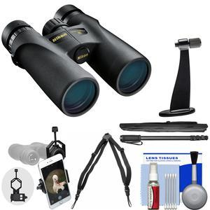 Nikon Monarch 3 10x42 ATB Waterproof - Fogproof Binoculars with Case + Harness + Smartphone Adapter + Tripod Adapter + Monopod + Cleaning Kit