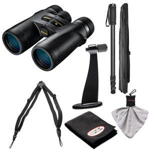 Nikon Monarch 7 8x42 ED ATB Waterproof - Fogproof Binoculars with Case + Harness + Tripod Adapter and Monopod + Kit