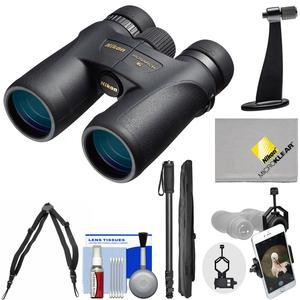 Nikon Monarch 7 8x42 ED ATB Waterproof - Fogproof Binoculars with Case + Harness + Smartphone and Tripod Adapters + Monopod + Cleaning Kit