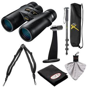 Nikon Monarch 7 10x42 ED ATB Waterproof-Fogproof Binoculars with Case and Harness and Tripod Adapter and Monopod and Kit