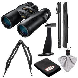 Nikon Monarch 7 10x42 ED ATB Waterproof - Fogproof Binoculars with Case + Harness + Tripod Adapter and Monopod + Kit