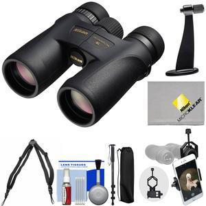 Nikon Monarch 7 10x42 ED ATB Waterproof-Fogproof Binoculars with Case and Harness and Smartphone and Tripod Adapters and Monopod and Cleaning Kit