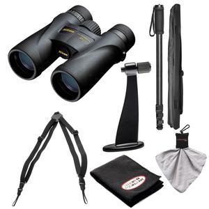 Nikon Monarch 5 8x42 ED ATB Waterproof - Fogproof Binoculars with Case + Harness + Tripod Adapter and Monopod + Kit