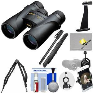 Nikon Monarch 5 8x42 ED ATB Waterproof - Fogproof Binoculars with Case + Harness + Smartphone and Tripod Adapters + Monopod + Cleaning Kit
