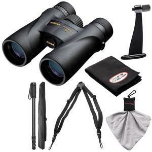 Nikon Monarch 5 10x42 ED ATB Waterproof - Fogproof Binoculars with Case + Harness + Tripod Adapter and Monopod + Kit