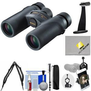 Nikon Monarch 7 8x30 ED ATB Waterproof-Fogproof Binoculars with Case and Harness and Smartphone and Tripod Adapters and Monopod and Cleaning Kit