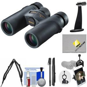 Nikon Monarch 7 8x30 ED ATB Waterproof - Fogproof Binoculars with Case + Harness + Smartphone and Tripod Adapters + Monopod + Cleaning Kit