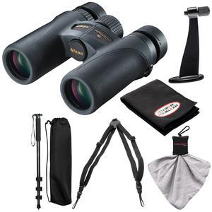 Nikon Monarch 7 10x30 ED ATB Waterproof-Fogproof Binoculars with Case and Harness and Tripod Adapter and Monopod and Kit