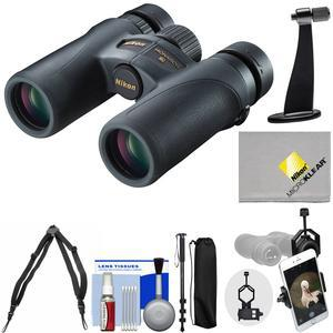 Nikon Monarch 7 10x30 ED ATB Waterproof-Fogproof Binoculars with Case and Harness and Smartphone and Tripod Adapters and Monopod and Cleaning Kit