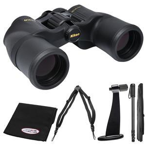 Nikon Aculon A211 8x42 Binoculars with Case with Harness Strap + Tripod Adapter + Monopod + FogKlear Cloth Kit