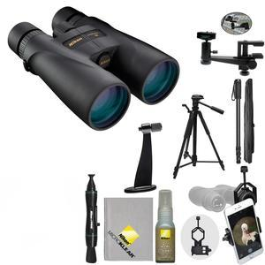 Nikon Monarch 5 20x56 ED Waterproof - Fogproof Binoculars with Case + Tripod + Smartphone Adapter + Mounts + Monopod + Cleaning Kit