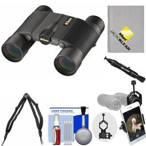 Nikon Premier LX L 10x25 Waterproof-Fogproof Binoculars with Case and Harness and Smartphone Adapter and Cleaning Kit