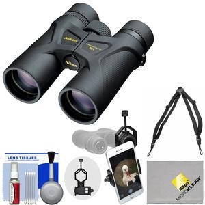 Nikon Prostaff 3S 10x42 Waterproof - Fogproof Binoculars with Case + Harness + Smartphone Adapter + Cleaning Kit