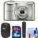 Nikon Coolpix A10 Digital Camera (Silver) with 16GB Card + Case + Grip + Cleaning Kit