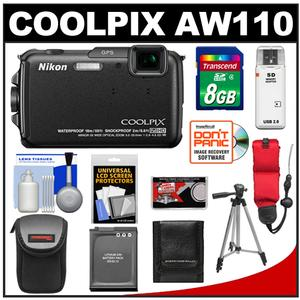 Nikon Coolpix AW110 Shock + Waterproof GPS Wi-Fi Digital Camera  + 8GB Card + Battery + Case + Float Strap + Tripod + Accessory Kit at Sears.com