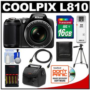 Nikon Coolpix L810 Digital Camera  - Factory Refurbished + 16GB Card + Batteries/Charger + Case + Tripod + HDMI Cable + Acc Kit at Sears.com