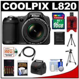 Nikon Coolpix L820 Digital Camera (Black) with 16GB Card + Batteries + Charger + Case + Tripods + HDMI Cable + Accessory Kit at Sears.com