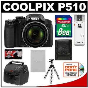 Nikon Coolpix P510 GPS Digital Camera (Black) - Factory Refurbished with 8GB Card + Battery + Case + Flex Tripod + Accessory Kit at Sears.com