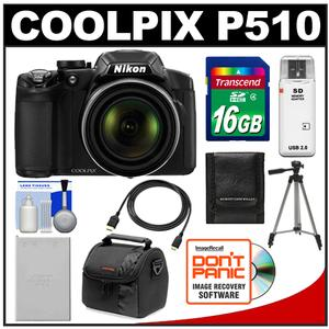 Nikon Coolpix P510 GPS Digital Camera  - Factory Refurbished + 16GB Card + Battery + Case + Tripod + HDMI Cable + Accessory Kit at Sears.com