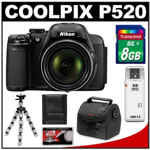 Nikon Coolpix P520 GPS Digital Camera (Black) with 8GB Card + Case + Flex Tripod + Accessory Kit at Sears.com