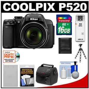 Nikon Coolpix P520 GPS Digital Camera (Black) with 16GB Card + Battery + Case + Flex Tripod + Accessory Kit at Sears.com