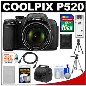 Nikon Coolpix P520 GPS Digital Camera (Black) with 16GB Card + Battery + Case + Tripods + HDMI Cable + Accessory Kit at Sears.com