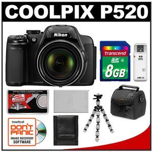 Nikon Coolpix P520 GPS Digital Camera (Black) - Factory Refurbished with 8GB Card + Case + Battery + Flex Tripod + Accessory Kit at Sears.com