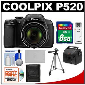 Nikon Coolpix P520 GPS Digital Camera (Black) - Factory Refurbished with 8GB Card + Case + Battery + Tripod + Accessory Kit at Sears.com