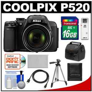 Nikon Coolpix P520 GPS Digital Camera  - Factory Refurbished + 16GB Card + Case + Battery + Tripod + HDMI Cable + Accessory Kit at Sears.com