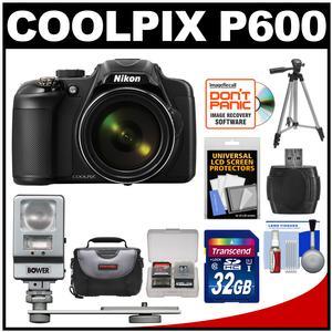 Nikon Coolpix P600 Wi-Fi Digital Camera (Black) with 32GB Card + Case + Tripod + Flash/LED Light + Kit