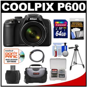 Nikon Coolpix P600 Wi-Fi Digital Camera (Black) with 64GB Card + Case + Tripod + HDMI Cable + Accessory Kit