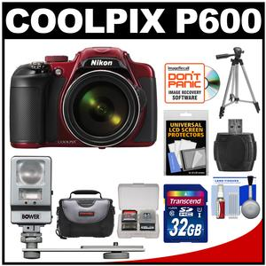 Nikon Coolpix P600 Wi-Fi Digital Camera (Red) with 32GB Card + Case + Tripod + Flash/LED Light + Kit