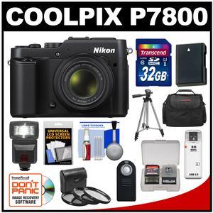 Nikon Coolpix P7800 Digital Camera (Black) with 32GB Card + Case + Flash + Battery + Tripod + 3 Filters + Remote