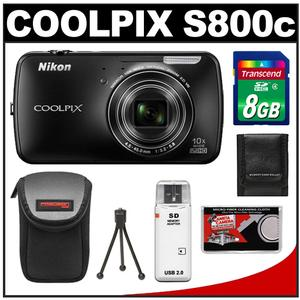 Nikon COOLPIX S800c Android Wi-Fi GPS Digital Camera (Black) with 8GB Card + Case + Flex Tripod + Accessory Kit at Sears.com