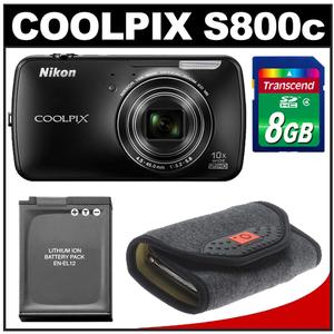 Nikon COOLPIX S800c Android Wi-Fi GPS Digital Camera (Black) with 8GB Card + Battery + Case Kit at Sears.com