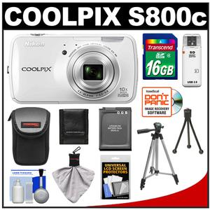 Nikon COOLPIX S800c Android Wi-Fi GPS Digital Camera (White) with 16GB Card + Battery + Case + Tripod + Accessory Kit at Sears.com