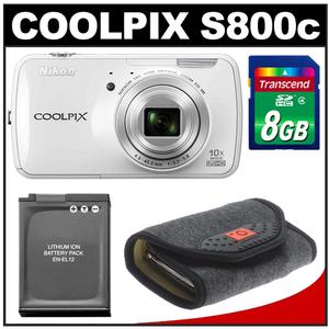 Nikon COOLPIX S800c Android Wi-Fi GPS Digital Camera (White) with 8GB Card + Battery + Case Kit at Sears.com