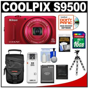 Nikon Coolpix S9500 Wi-Fi GPS Digital Camera (Red) with 16GB Card + Battery + Case + Flex Tripod + Accessory Kit at Sears.com