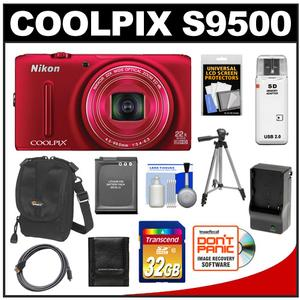 Nikon Coolpix S9500 Wi-Fi GPS Digital Camera (Red) with 32GB Card + Battery + Charger + Case + Tripod + HDMI Cable + Accessory Kit at Sears.com