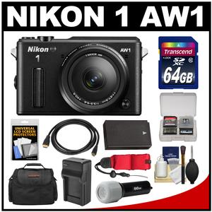 Nikon 1 AW1 Shock & Waterproof Digital Camera Body with AW 11-27.5mm Lens (Black) with 64GB Card + Case + Battery & Charger + Strap + LED Torch Kit