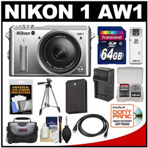 Nikon 1 AW1 Shock & Waterproof Digital Camera Body with AW 11-27.5mm Lens (Silver) with 64GB Card + Case + Battery & Charger + Tripod + Accessory Kit