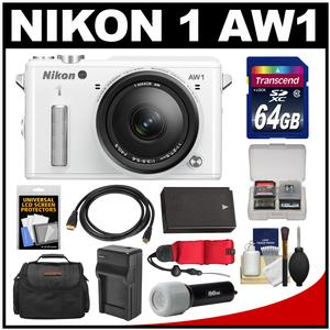 Nikon 1 AW1 Shock & Waterproof Digital Camera Body with AW 11-27.5mm Lens (White) with 64GB Card + Case + Battery & Charger + Strap + LED Torch Kit